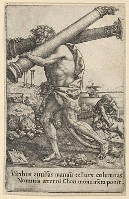 Heinrich Aldegrever Drawing - The Pillars Of Hercules by Heinrich Aldegrever