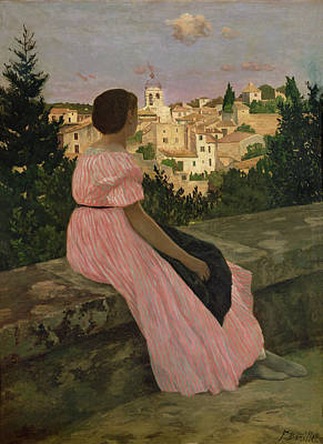 Cousins Painting - The Pink Dress by Jean Frederic Bazille
