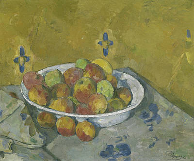 Organic Painting - The Plate Of Apples by Paul Cezanne