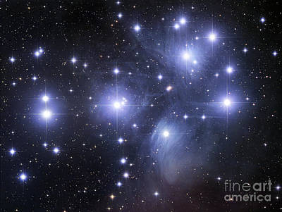 Illuminated Photograph - The Pleiades by Robert Gendler