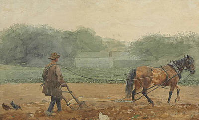 Man.farmer Painting - The Plowman by Winslow Homer