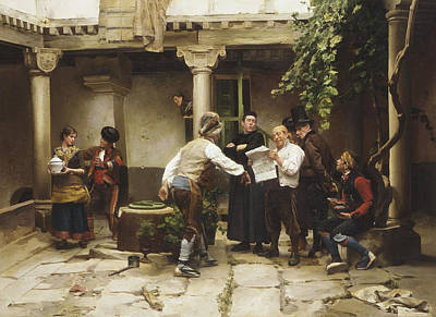 Flirtation Painting - The Politicians by Jules Worms
