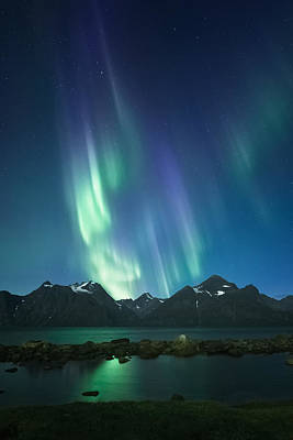 Aurora Photograph - The Pond And The Fjord by Tor-Ivar Naess