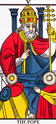 The Pope Tarot Card Print by French School