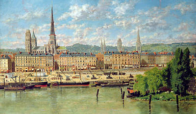 Steam Ships Painting - The Port At Rouen by Torello Ancillotti