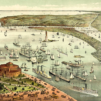 Statue Of Liberty Drawing - The Port Of New York, Birds Eye View From The Battery, Looking South, Circa 1892 by Currier and Ives