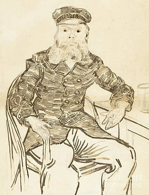Glass Drawing - The Postman Joseph Roulin by Vincent Van Gogh