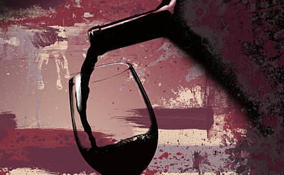 Painted Wine Glass Digital Art - The Pour by Ryan Burton