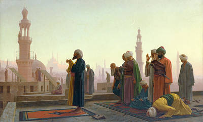 Roofs Painting - The Prayer by Jean Leon Gerome