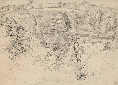 Primitive Drawing - The Primitive Cottage, Shoreham by Samuel Palmer