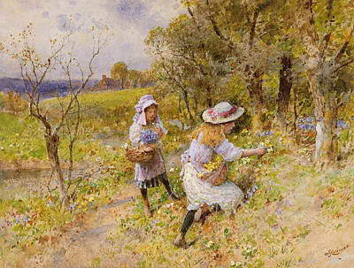 Primroses Painting - The Primrose Gatherers by William Stephen Coleman