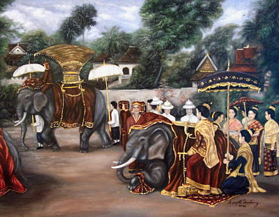 Laos Painting - The Procession by Sompaseuth Chounlamany