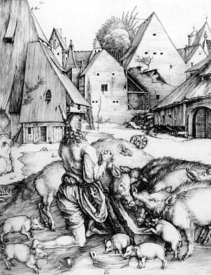 Pig Drawing - The Prodigal Son by Albrecht Durer or Duerer