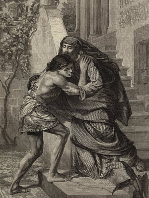 Father And Son Drawing - The Prodigal's Return by Sir Edward John Poynter