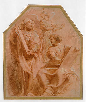 Daniel Drawing - The Prophets David And Daniel by Peter Paul Rubens