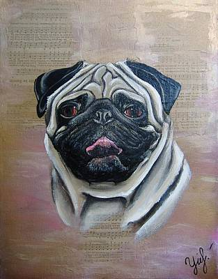 Fawn Pug Painting - The Pug by Yanina Perkins