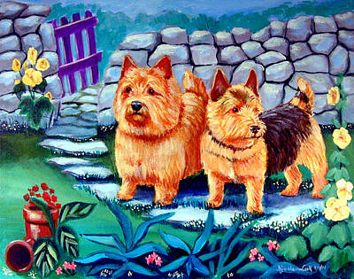 Puppy Painting - The Purple Gate - Norwich Terrier by Lyn Cook