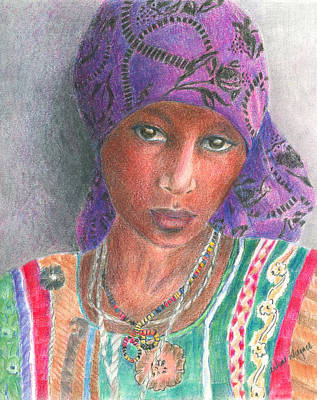 Woman Drawing - The Purple Scarf  by Arline Wagner