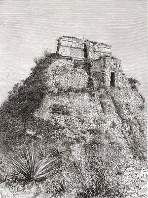 Restoration Drawing - The Pyramid Of The Magician, Uxmal by Vintage Design Pics