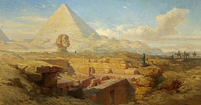 Camel Painting - The Pyramids by William James Muller