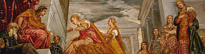 Old Painting - The Queen Of Sheba And Solomon by Tintoretto
