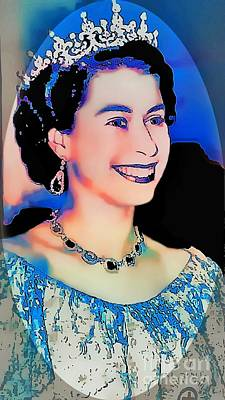 The Queen -  Pop Art Portrait Print by Ian Gledhill