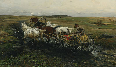 Polish Painters Painting - The Race by Alfred Kowalski