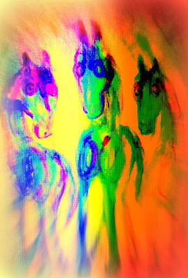The Rainbow Horses Are Coming Closer And You Don't Know What To Say  Print by Hilde Widerberg