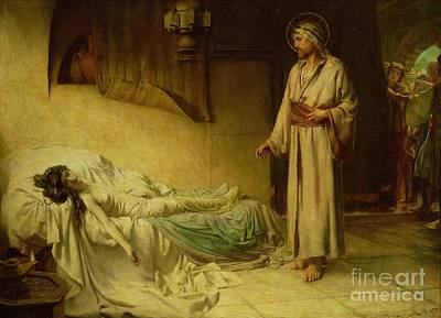 Back To Life Painting - The Raising Of Jairus's Daughter by George Percy Jacomb-Hood