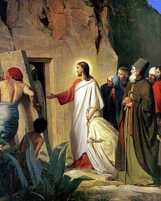 Palm Sunday Painting - The Raising Of Lazarus by Carl Bloch