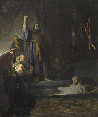 Martha Mary Painting - The Raising Of Lazarus by Rembrandt