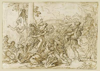 Drawing - The Rape Of The Sabine Women by Antonio Domenico Gabbiani