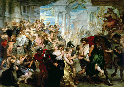 Abduction Painting - The Rape Of The Sabine Women by Peter Paul Rubens