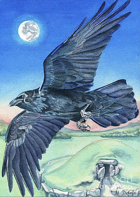 Totem Painting - The Raven  by Antony Galbraith