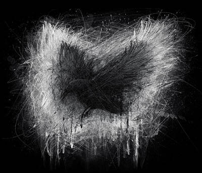 Ravens Drawing - The Raven - Black Edition by Christian Klute