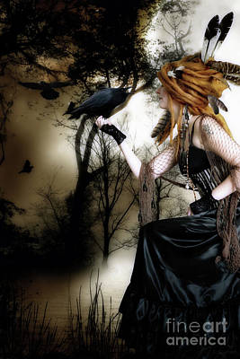Gothic Digital Art - The Raven by Shanina Conway