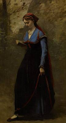 Wood Necklace Painting - The Reader by Jean Baptiste Camille Corot