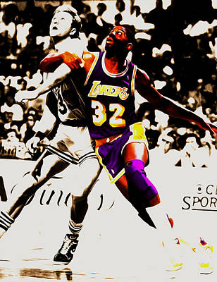 Magic Johnson Mixed Media - The Rebound by Brian Reaves