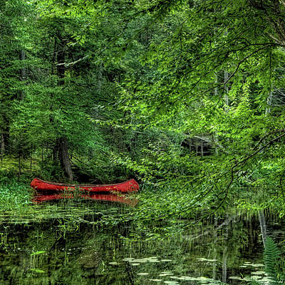 The Red Canoe 2 Print by David Patterson