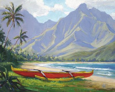 The Red Canoe Print by Jenifer Prince