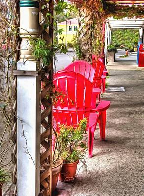 Oregon Photograph - The Red Chairs In Old Town by Thom Zehrfeld