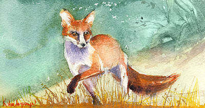 Red Fox Painting - The Red Fox by Kristina Vardazaryan