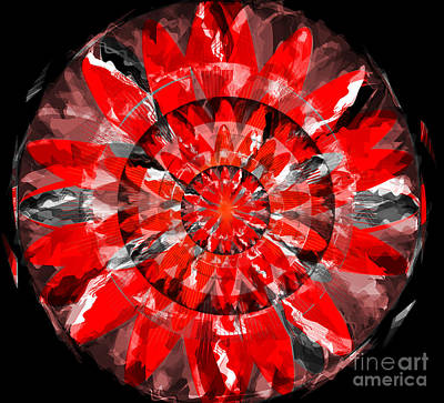 Flower Digital Art - The Red Lotus by Andrew Kaupe