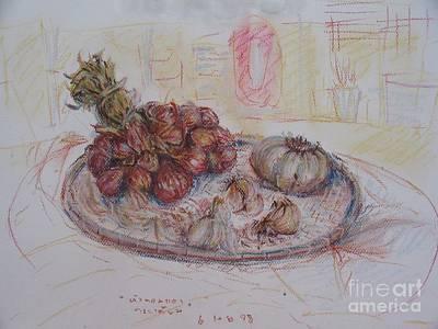 Onion Drawing - The Red Onion by Sukalya Chearanantana