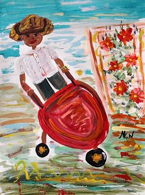 Tomboy Painting - The Red Steel Barrow by Mary Carol Williams