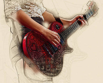 Taylor Swift Digital Art - The Red Tour Guitar by Don Kuing