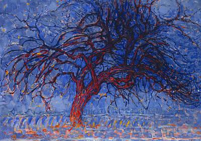 De Stijl Painting - The Red Tree by Piet Mondrian