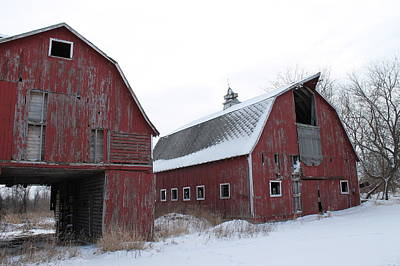 Red Barn In Winter Photograph - The Red Twins by Julie Nott