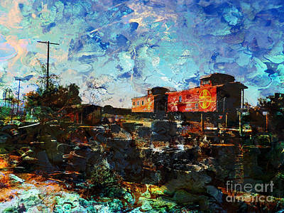 Old Caboose Digital Art - The Red Twins by Robert Ball