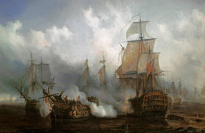 Boats In Water Painting - The Redoutable In The Battle Of Trafalgar, October 21, 1805 by Auguste Etienne Francois Mayer